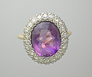 Ring Amethyst 14k Gold And Diamond