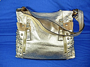 Makowsky Gold Leather Bag Gold Studded