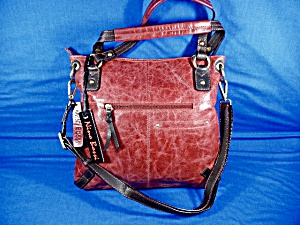 Red Leather Cross Body Bag By Nino Bossi