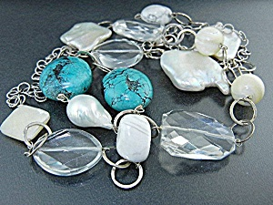 Keshi Pearls Turquoise Crystal Agate Sterling Silver Ne