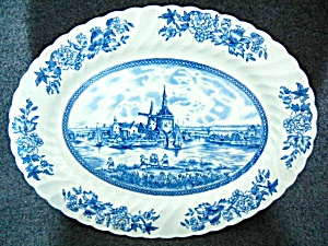 Johnson Bros China Tulip Time Pattern 12 Inch Oval Plat