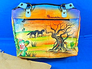 Anuschka Hand Painted Ponies Leather Tote