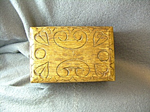 Wood Carved Trinket Box With Carved Hearts