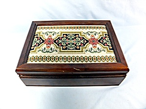 Jewelry Box Wood Inner Tray Tapestry Top