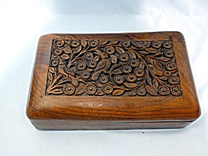 Wooden Box Carved Hinged