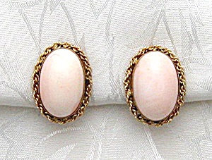 Earrings 14k Gold Angelskin Coral Clip Rare