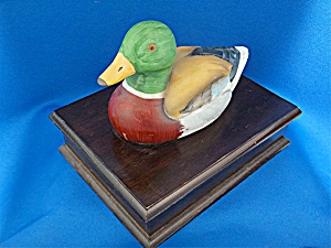 Wooden Box With Malard Duck Lid