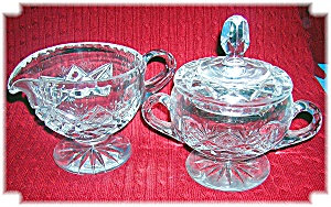 Cut Glass Sugar With Lid And Cream Pitcher