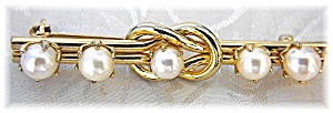 Gold And Cultured Pearl Bar Brooch