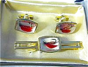 Fish Anson Fly Fisherman Cuff Link & Tie Clip