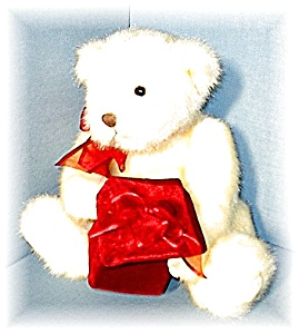 White Gund Teddy With Red Velveteen Gift Bx