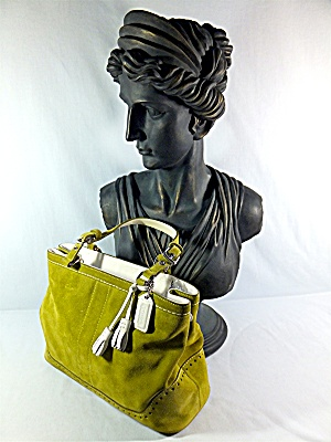 Bag Coach Lime Green Suede White Leather Tassles