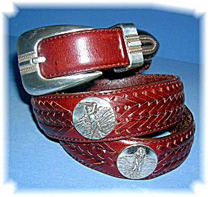 Brighton Leather Belt Mens Golf Logo 36 Inch