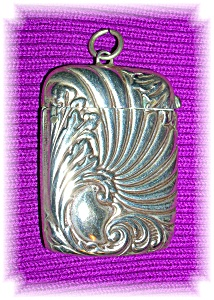 Vesta Match Box Pendant Antique Silver Plate.