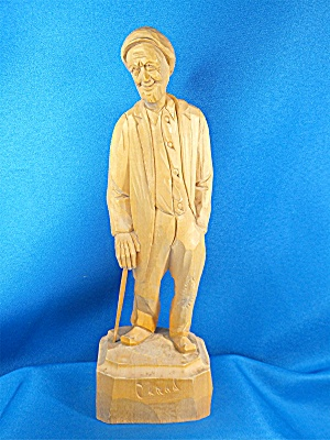 Wood Carving Old Man With Walking Stick, By Caron