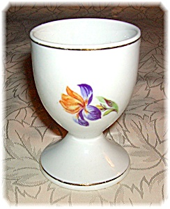 Porcelain Egg Cup With Handpainted Purple Iris