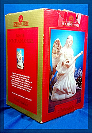 White Porcelain Angel, Holiday Time Collectables - Mib