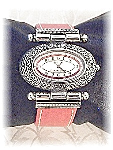 Sterling Silver Pink Leather Band Ecclisi Wristwatch