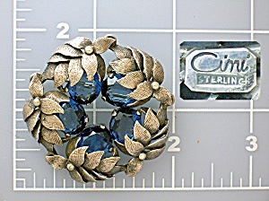 Cini Sterling Silver Leaf Wreath Sapphire Glass Brooch