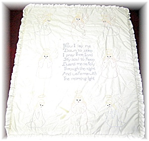 Baby Quilt Hand Embroidered Prayer & Angels