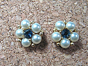 Earrings Weiss Pearl Blue Crystal Goldtone Clip