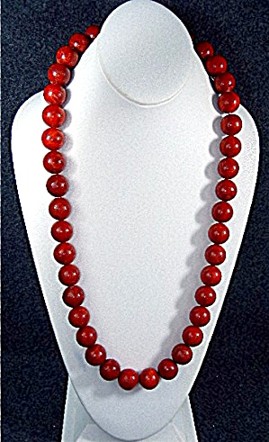 Apple Coral Sterling Silver Beads Necklace