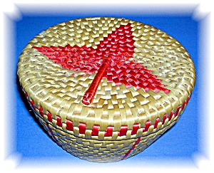 Woven Basket With Lid....