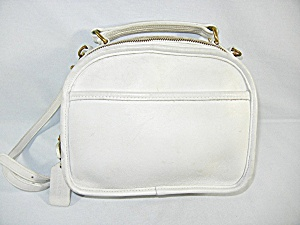 Vintage Coach White Leather Handbag