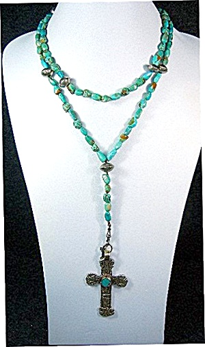 Peru Silver Cross Turquoise Tribal Silver Necklace