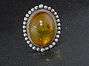 Baltic Amber Honey Color Sterling Silver Ring