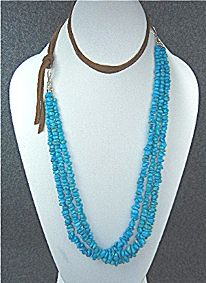Campitos Turquoise Sterling Silver Leather Necklace