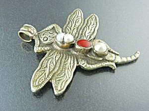 Nepal Silver Pearl Coral Bug 2 Sided Pendant