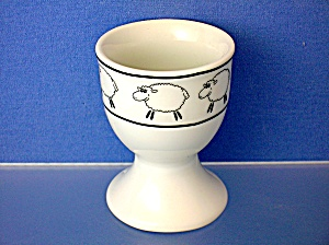 White Pocelaine Egg Cup With Fluffy Sheep. . .
