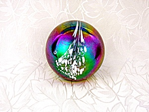 Paperweight Iridescent Blue Green White Mt St Helens As