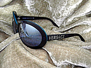 Sunglasses Versace Black Teal Frame Italy
