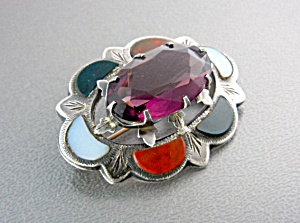 Antique Sterling Silver Agate Amethyst Scottish Brooch