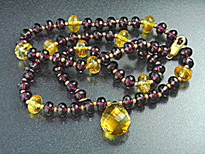 14k Gold Clasp Faceted Amethyst Citrine Necklace
