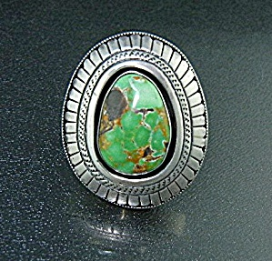 Navajo Sterling Silver Green Carico Lake Turquoise Ring