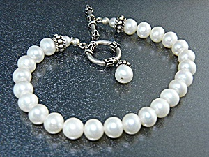 Freshwater Pearls Sterling Silver Toggle Clasp Bracelet