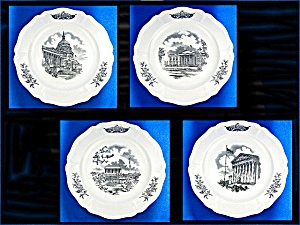 Wedgwood Federal City Plates, Set Of 4, Black Transfer