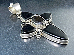 David Troutman Sterling Silver Onyx Smoky Topaz Cross