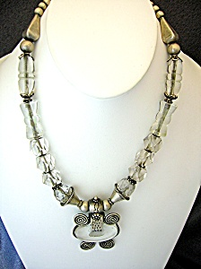 Sterling Silver Antique Carved Crystal Necklace India