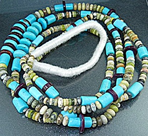 Navajo Turquoise Spiny Oyster Jasper Necklace S. Turpen