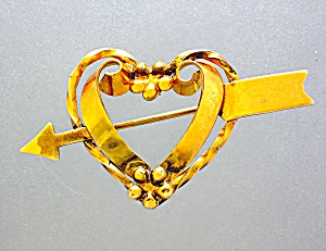 Gold Heart And Arrow Brooch Pin 12k Gf Linc