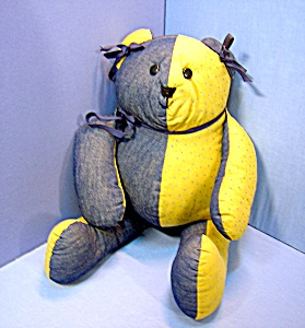 Handcrafted Bear - Fat Little Guy With Blue Ribbons ..
