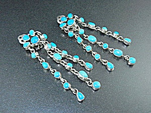 Navajo Sterling Silver Sleeping Beauty Turquoise Clips