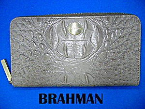 Brahmin Taupe Leather Zip Around Wallet