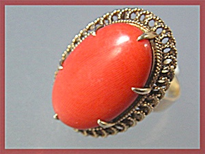 Ring 14k Coral Antique