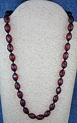 Cherry Amber Faceted Hand Knotted Necklace 50s