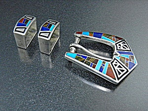 Coral Turquoise Lapis Sterling Silver Studio Gl Buckle